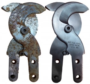 Bolt cutter blade repair before and after