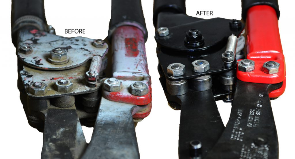 Ratcheting-Bolt-Cutters-tool repair before and after