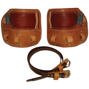 Bashlin Spur Stay Leather Climber pad with Straps
